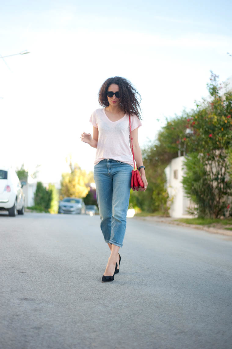 poppy shoes and boyfriend jean