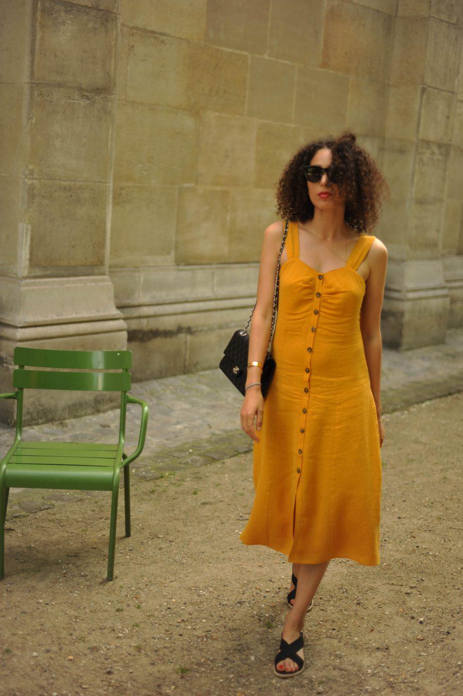 Linen-Blend-Midi-Dress